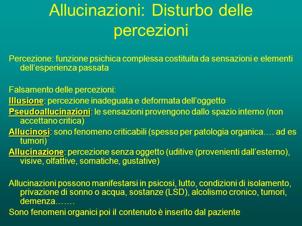 Allucinazioni: Disturbo delle percezioni Percezione: funzione psichica complessa costituita da sensazioni e elementi dell'esperienza passata Falsamento delle percezioni: Illusione Illusione: percezione inadeguata e deformata dell'oggetto Pseudoallucinazioni Pseudoallucinazioni: le sensazioni provengono dallo spazio interno (non accettano critica) Allucinosi Allucinosi: sono fenomeno criticabili (spesso per patologia organica….
