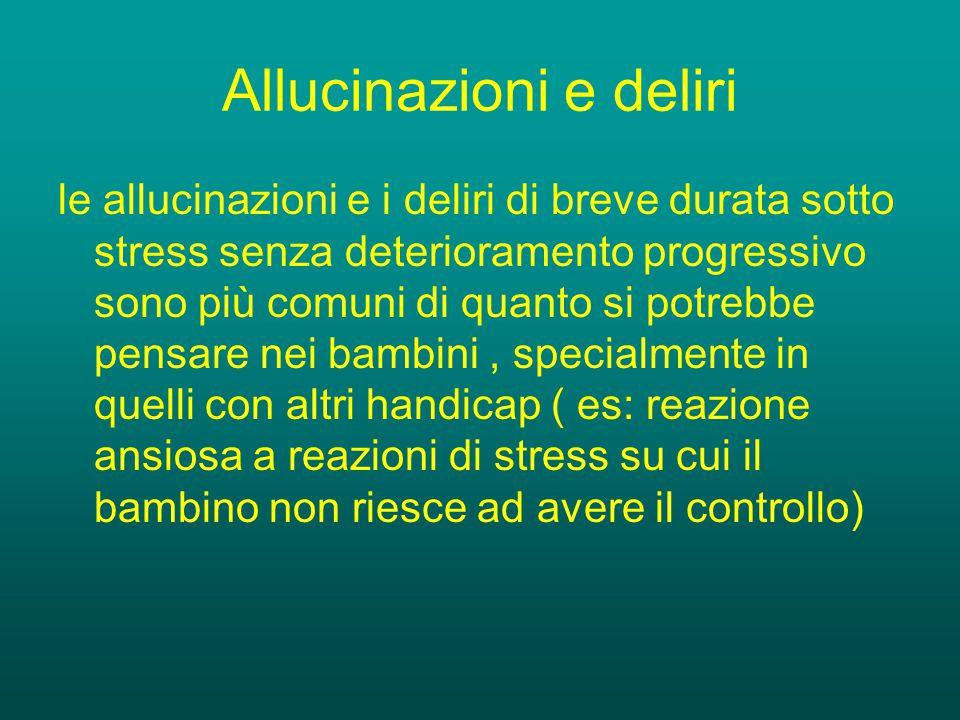 Sintomi Positivi Allucinazioni Allucinazioni: Uditive (più frequenti): voci dialoganti o voci commentanti, Visive, Olfattive, somatiche o tattili, gustative.
