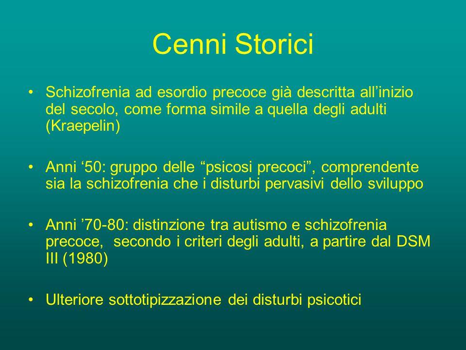 Cenni Storici Schizofrenia ad esordio precoce già descritta all'inizio del secolo, come forma simile a quella degli adulti (Kraepelin) Anni '50: gruppo delle psicosi precoci , comprendente sia la schizofrenia che i disturbi pervasivi dello sviluppo Anni '70-80: distinzione tra autismo e schizofrenia precoce, secondo i criteri degli adulti, a partire dal DSM III (1980) Ulteriore sottotipizzazione dei disturbi psicotici