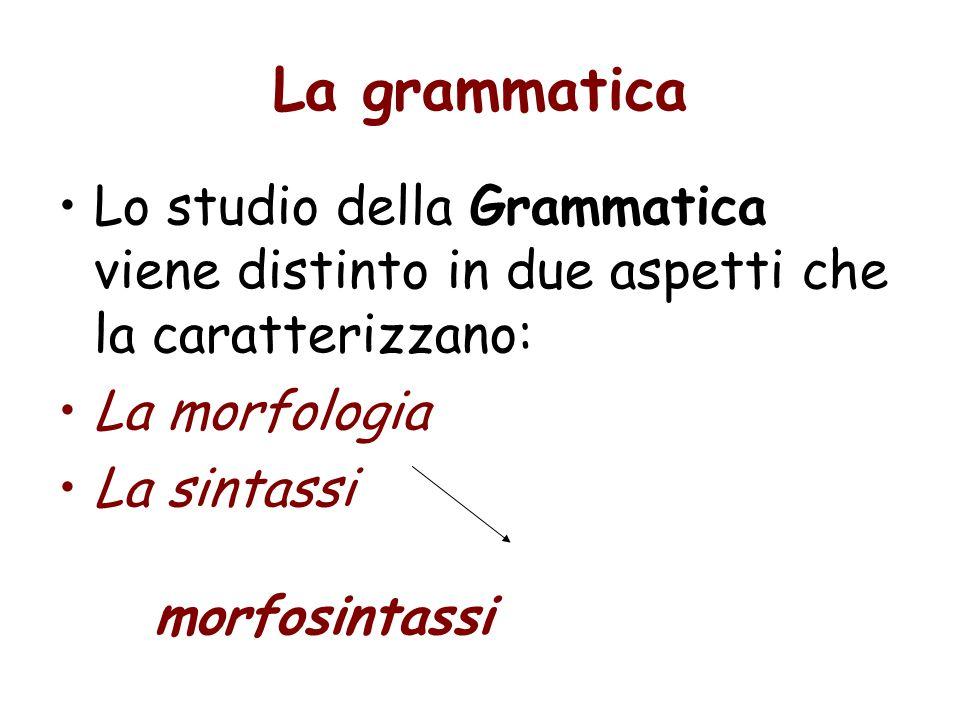 Morfologia La morfemi liberi sono gli elementi grammaticali -- funtori -- che possono essere separati dagli elementi lessicali,: articoli, preposizioni (semplici e articolate), pronomi, congiunzioni e connettivi.