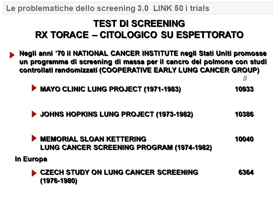 Negli anni '70 il NATIONAL CANCER INSTITUTE negli Stati Uniti promosse un programma di screening di massa per il cancro del polmone con studi controllati randomizzati (COOPERATIVE EARLY LUNG CANCER GROUP) TEST DI SCREENING RX TORACE – CITOLOGICO SU ESPETTORATO MAYO CLINIC LUNG PROJECT (1971-1983)10933 JOHNS HOPKINS LUNG PROJECT (1973-1982) 10386 MEMORIAL SLOAN KETTERING 10040 LUNG CANCER SCREENING PROGRAM (1974-1982) CZECH STUDY ON LUNG CANCER SCREENING 6364 (1976-1980) # # In Europa Le problematiche dello screening 3.0 LINK 50 i trials