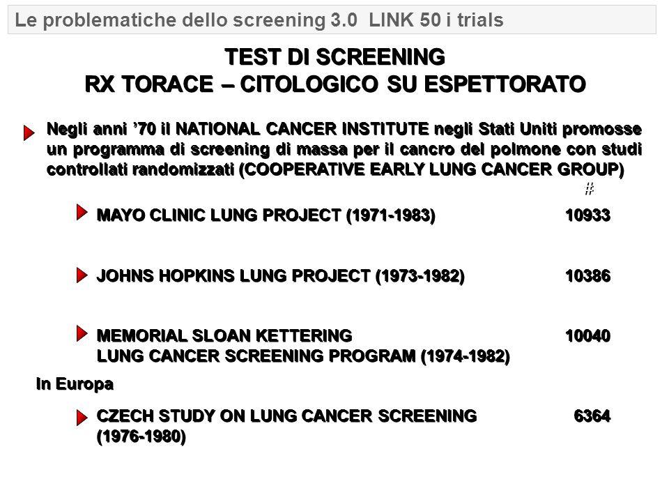 Negli anni '70 il NATIONAL CANCER INSTITUTE negli Stati Uniti promosse un programma di screening di massa per il cancro del polmone con studi controll