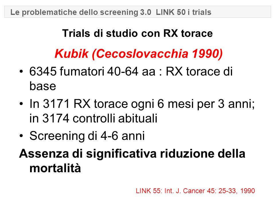 Trials di studio con RX torace Kubik (Cecoslovacchia 1990) 6345 fumatori 40-64 aa : RX torace di base In 3171 RX torace ogni 6 mesi per 3 anni; in 3174 controlli abituali Screening di 4-6 anni Assenza di significativa riduzione della mortalità LINK 55: Int.