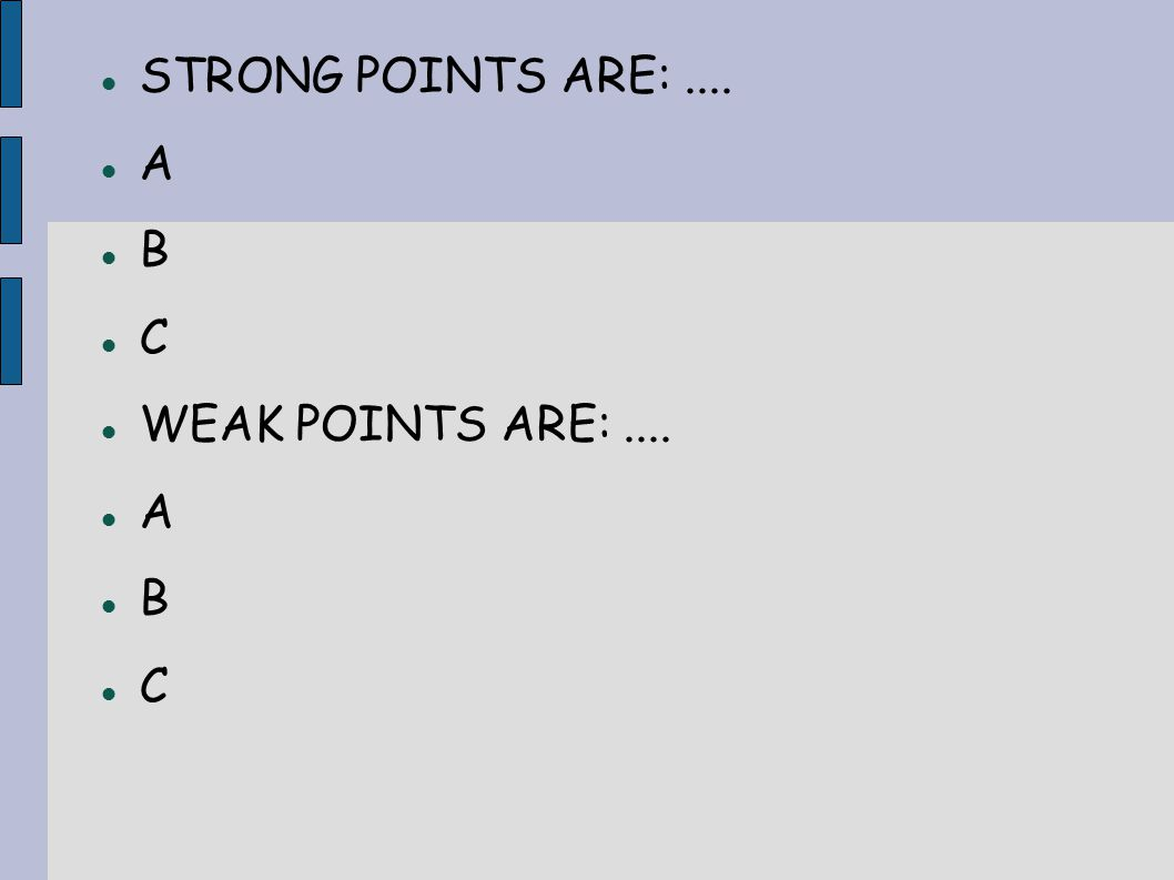 STRONG POINTS ARE:.... A B C WEAK POINTS ARE:.... A B C