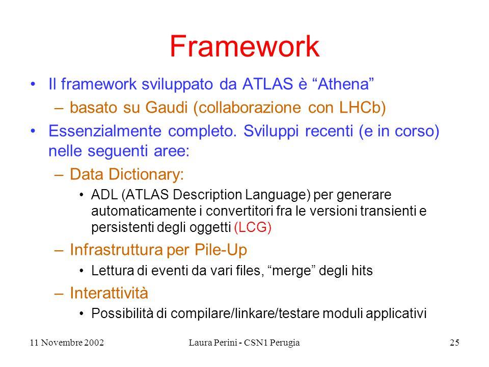11 Novembre 2002Laura Perini - CSN1 Perugia25 Framework Il framework sviluppato da ATLAS è Athena –basato su Gaudi (collaborazione con LHCb) Essenzialmente completo.