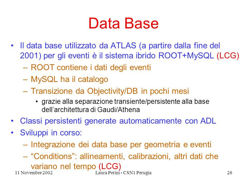 11 Novembre 2002Laura Perini - CSN1 Perugia26 Data Base Il data base utilizzato da ATLAS (a partire dalla fine del 2001) per gli eventi è il sistema ibrido ROOT+MySQL (LCG) –ROOT contiene i dati degli eventi –MySQL ha il catalogo –Transizione da Objectivity/DB in pochi mesi grazie alla separazione transiente/persistente alla base dell'architettura di Gaudi/Athena Classi persistenti generate automaticamente con ADL Sviluppi in corso: –Integrazione dei data base per geometria e eventi – Conditions : allineamenti, calibrazioni, altri dati che variano nel tempo (LCG)