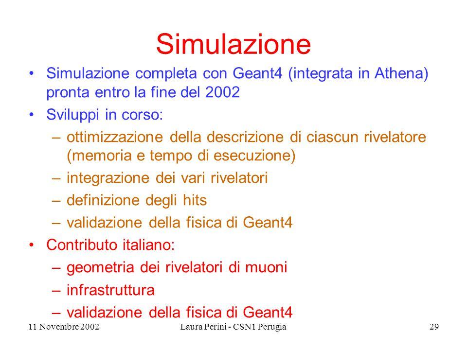 11 Novembre 2002Laura Perini - CSN1 Perugia29 Simulazione Simulazione completa con Geant4 (integrata in Athena) pronta entro la fine del 2002 Sviluppi