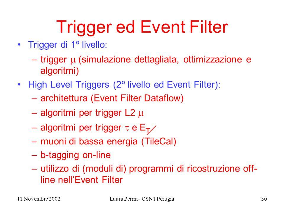 11 Novembre 2002Laura Perini - CSN1 Perugia30 Trigger ed Event Filter Trigger di 1º livello: –trigger  (simulazione dettagliata, ottimizzazione e algoritmi) High Level Triggers (2º livello ed Event Filter): –architettura (Event Filter Dataflow) –algoritmi per trigger L2  –algoritmi per trigger  e E T –muoni di bassa energia (TileCal) –b-tagging on-line –utilizzo di (moduli di) programmi di ricostruzione off- line nell'Event Filter