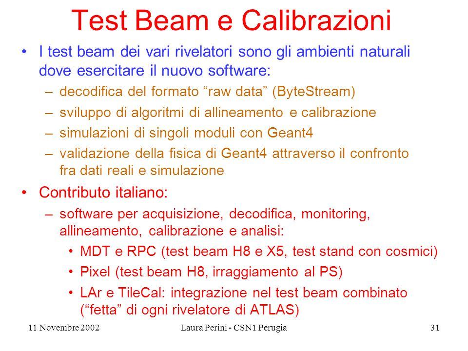 11 Novembre 2002Laura Perini - CSN1 Perugia31 Test Beam e Calibrazioni I test beam dei vari rivelatori sono gli ambienti naturali dove esercitare il nuovo software: –decodifica del formato raw data (ByteStream) –sviluppo di algoritmi di allineamento e calibrazione –simulazioni di singoli moduli con Geant4 –validazione della fisica di Geant4 attraverso il confronto fra dati reali e simulazione Contributo italiano: –software per acquisizione, decodifica, monitoring, allineamento, calibrazione e analisi: MDT e RPC (test beam H8 e X5, test stand con cosmici) Pixel (test beam H8, irraggiamento al PS) LAr e TileCal: integrazione nel test beam combinato ( fetta di ogni rivelatore di ATLAS)