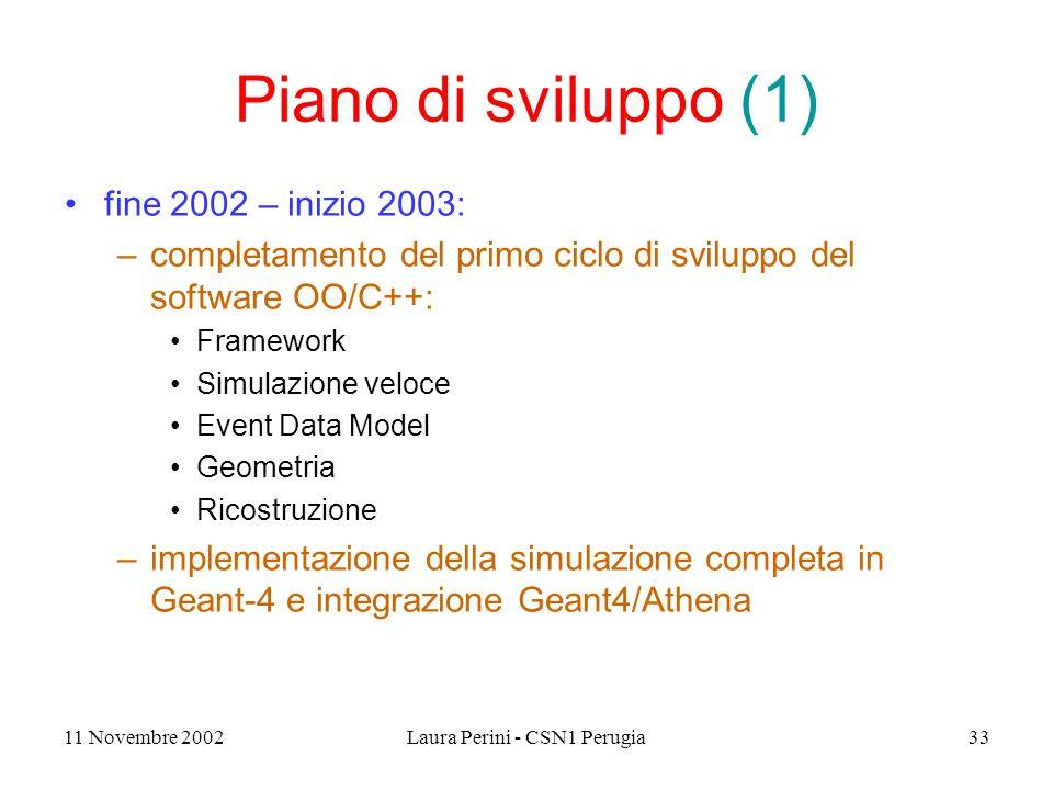 11 Novembre 2002Laura Perini - CSN1 Perugia33 Piano di sviluppo (1) fine 2002 – inizio 2003: –completamento del primo ciclo di sviluppo del software OO/C++: Framework Simulazione veloce Event Data Model Geometria Ricostruzione –implementazione della simulazione completa in Geant-4 e integrazione Geant4/Athena