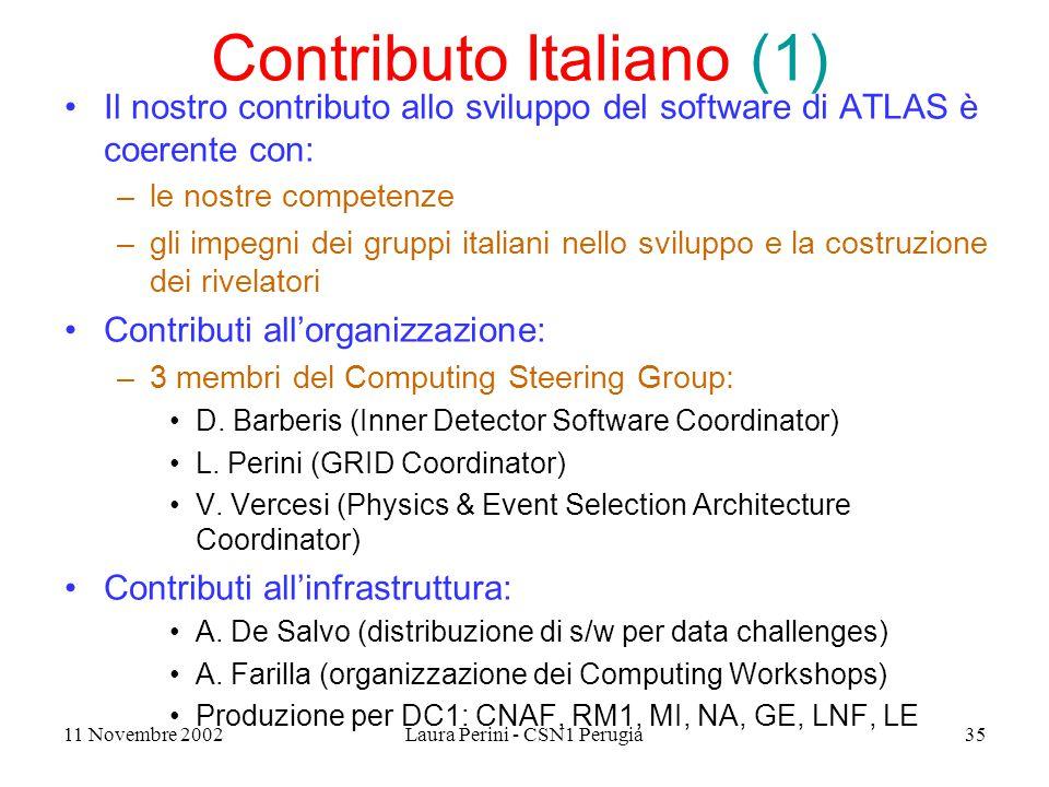 11 Novembre 2002Laura Perini - CSN1 Perugia35 Contributo Italiano (1) Il nostro contributo allo sviluppo del software di ATLAS è coerente con: –le nostre competenze –gli impegni dei gruppi italiani nello sviluppo e la costruzione dei rivelatori Contributi all'organizzazione: –3 membri del Computing Steering Group: D.