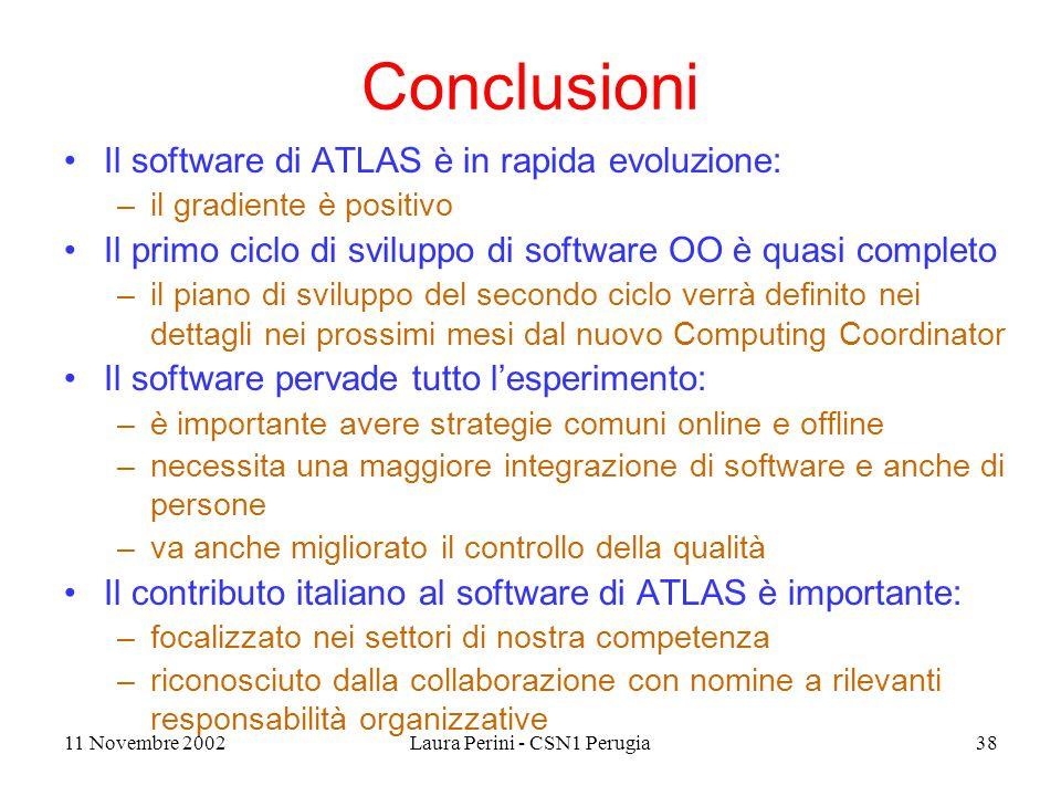 11 Novembre 2002Laura Perini - CSN1 Perugia38 Conclusioni Il software di ATLAS è in rapida evoluzione: –il gradiente è positivo Il primo ciclo di svil