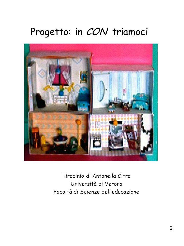 2 Progetto: in CON triamoci Tirocinio di Antonella Citro Università di Verona Facoltà di Scienze dell'educazione