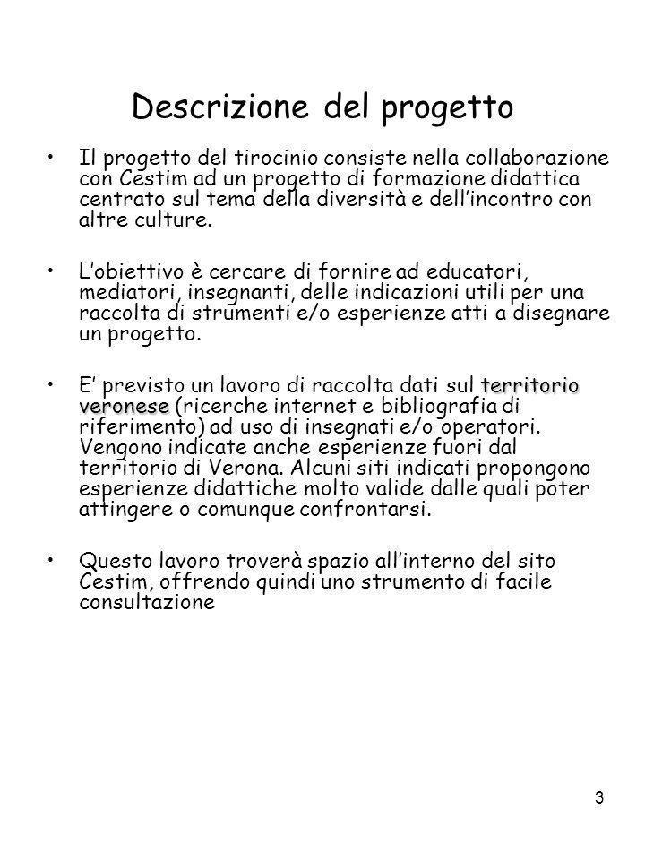 3 Descrizione del progetto Il progetto del tirocinio consiste nella collaborazione con Cestim ad un progetto di formazione didattica centrato sul tema della diversità e dell'incontro con altre culture.