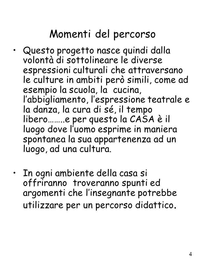 4 Momenti del percorso Questo progetto nasce quindi dalla volontà di sottolineare le diverse espressioni culturali che attraversano le culture in ambi