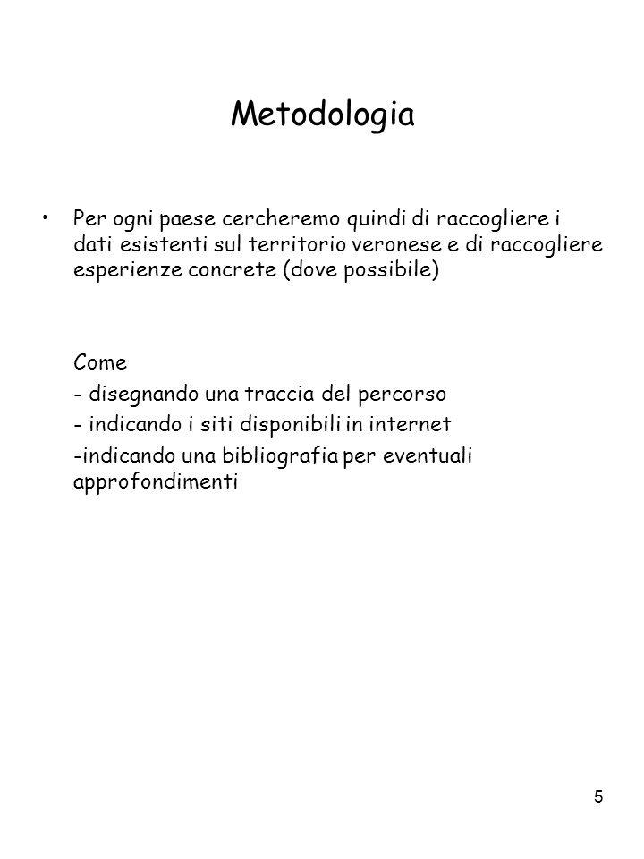 5 Metodologia Per ogni paese cercheremo quindi di raccogliere i dati esistenti sul territorio veronese e di raccogliere esperienze concrete (dove poss