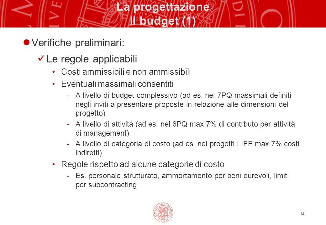 14 La progettazione Il budget (1) Verifiche preliminari: Le regole applicabili Costi ammissibili e non ammissibili Eventuali massimali consentiti -A l