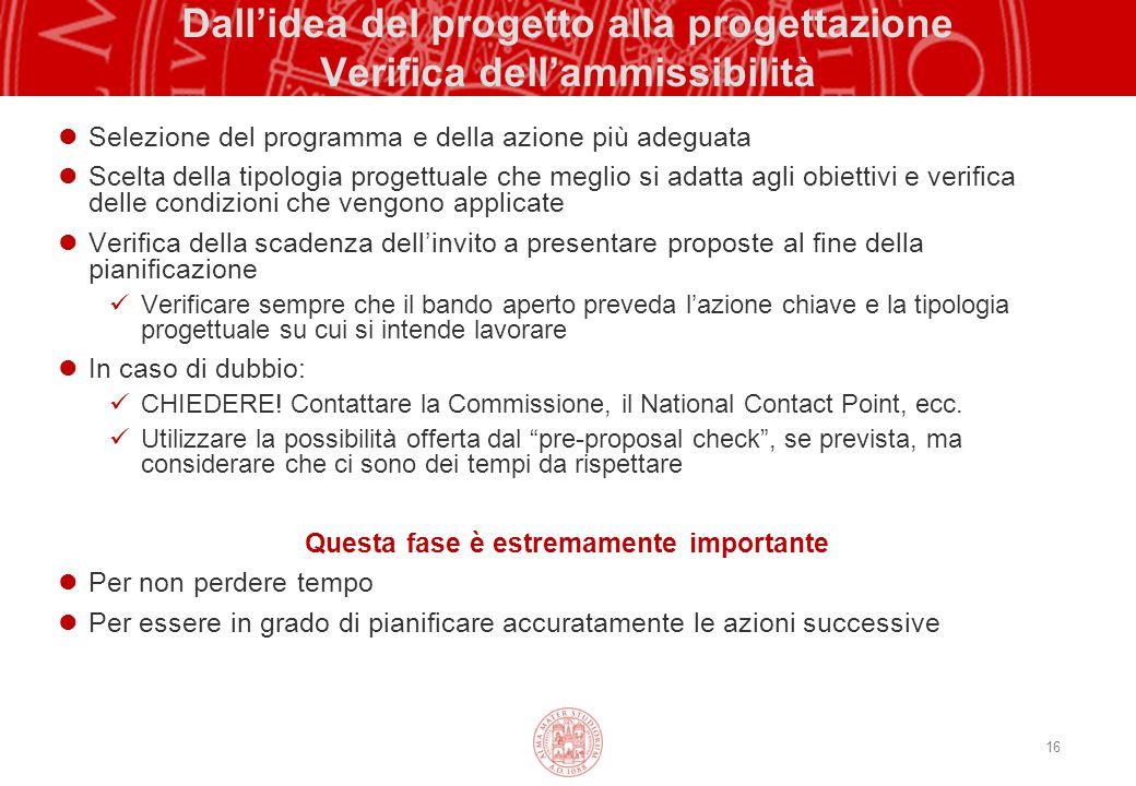 16 Dall'idea del progetto alla progettazione Verifica dell'ammissibilità Selezione del programma e della azione più adeguata Scelta della tipologia pr