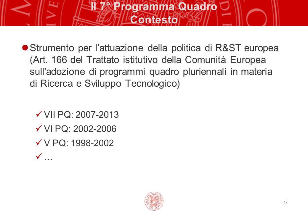 17 Il 7° Programma Quadro Contesto Strumento per l'attuazione della politica di R&ST europea (Art. 166 del Trattato istitutivo della Comunità Europea