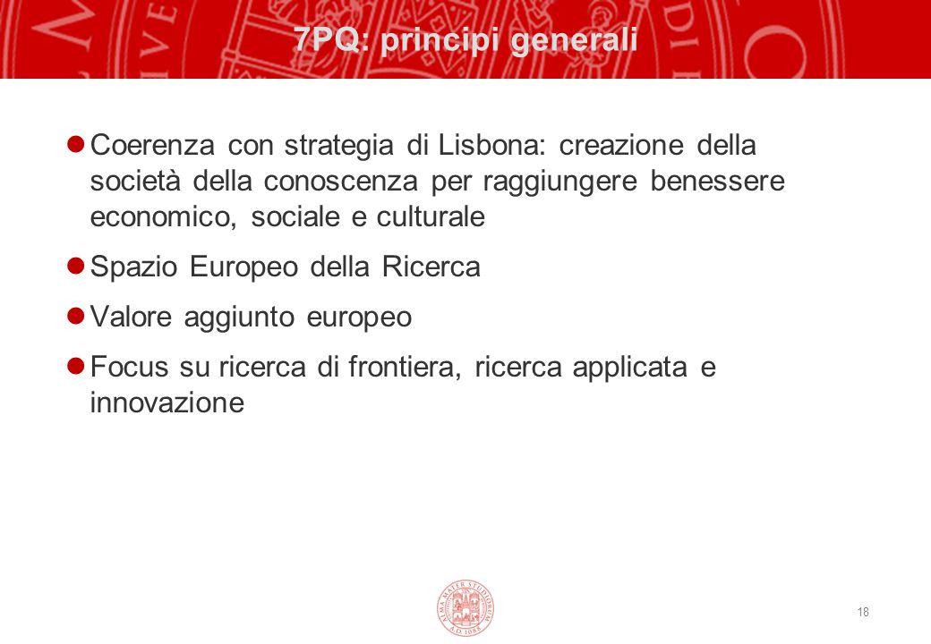 18 7PQ: principi generali Coerenza con strategia di Lisbona: creazione della società della conoscenza per raggiungere benessere economico, sociale e culturale Spazio Europeo della Ricerca Valore aggiunto europeo Focus su ricerca di frontiera, ricerca applicata e innovazione