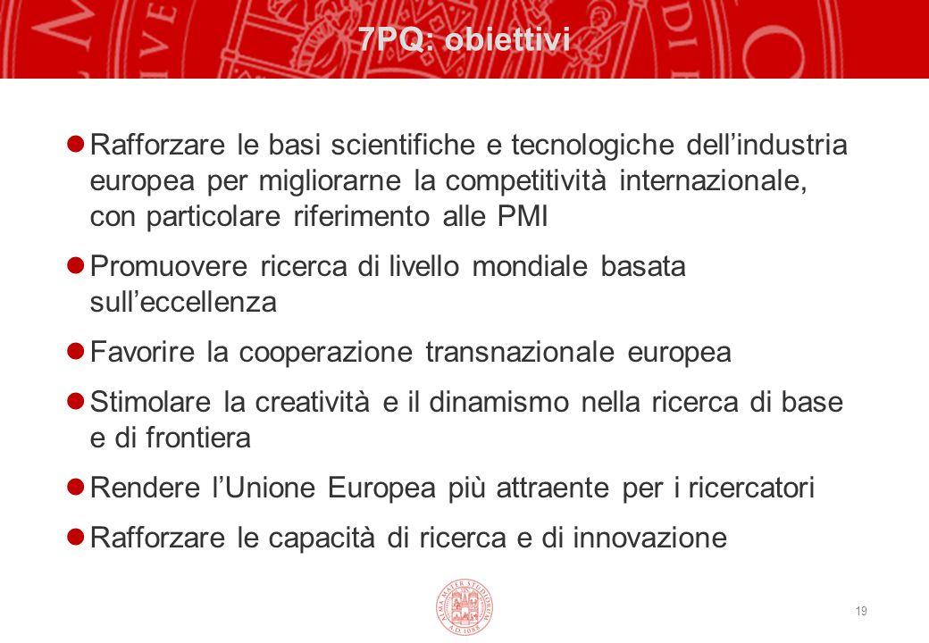 19 7PQ: obiettivi Rafforzare le basi scientifiche e tecnologiche dell'industria europea per migliorarne la competitività internazionale, con particolare riferimento alle PMI Promuovere ricerca di livello mondiale basata sull'eccellenza Favorire la cooperazione transnazionale europea Stimolare la creatività e il dinamismo nella ricerca di base e di frontiera Rendere l'Unione Europea più attraente per i ricercatori Rafforzare le capacità di ricerca e di innovazione