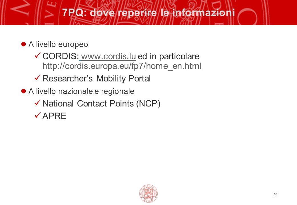 29 7PQ: dove reperire le informazioni A livello europeo CORDIS: www.cordis.lu ed in particolare http://cordis.europa.eu/fp7/home_en.htmlwww.cordis.lu http://cordis.europa.eu/fp7/home_en.html Researcher's Mobility Portal A livello nazionale e regionale National Contact Points (NCP) APRE