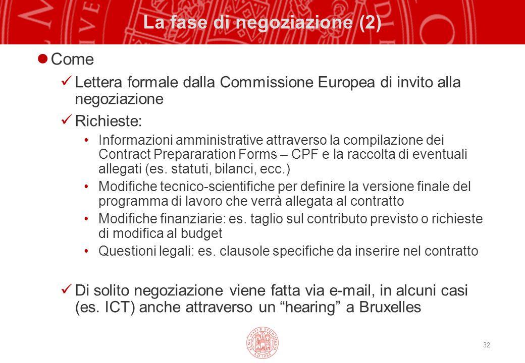 32 La fase di negoziazione (2) Come Lettera formale dalla Commissione Europea di invito alla negoziazione Richieste: Informazioni amministrative attraverso la compilazione dei Contract Prepararation Forms – CPF e la raccolta di eventuali allegati (es.