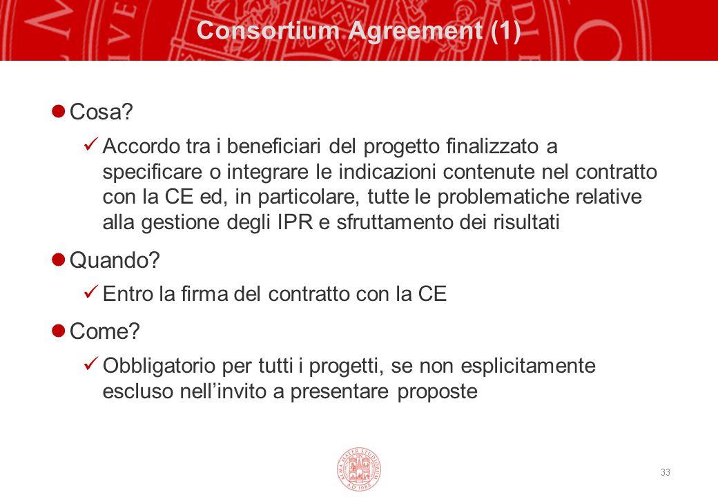 33 Consortium Agreement (1) Cosa? Accordo tra i beneficiari del progetto finalizzato a specificare o integrare le indicazioni contenute nel contratto
