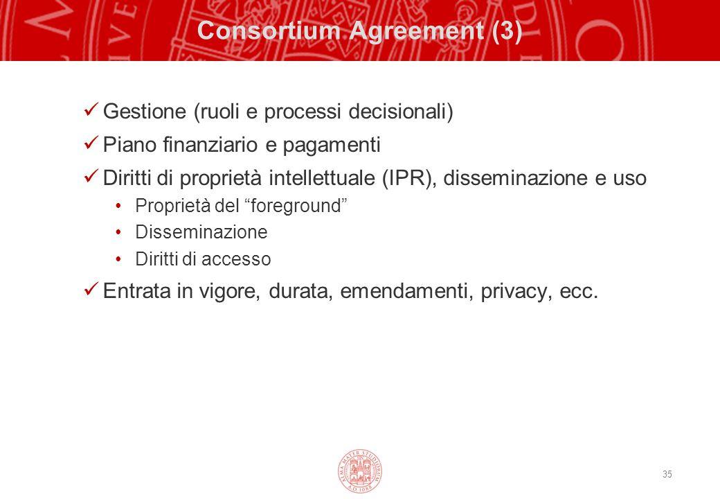 35 Consortium Agreement (3) Gestione (ruoli e processi decisionali) Piano finanziario e pagamenti Diritti di proprietà intellettuale (IPR), disseminazione e uso Proprietà del foreground Disseminazione Diritti di accesso Entrata in vigore, durata, emendamenti, privacy, ecc.