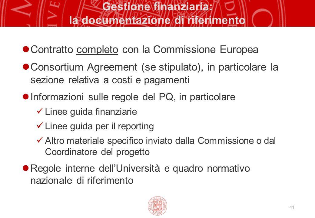 41 Gestione finanziaria: la documentazione di riferimento Contratto completo con la Commissione Europea Consortium Agreement (se stipulato), in partic
