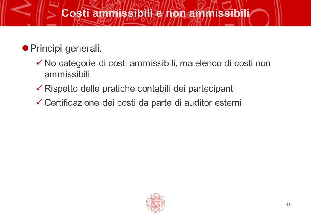 44 Costi ammissibili e non ammissibili Principi generali: No categorie di costi ammissibili, ma elenco di costi non ammissibili Rispetto delle pratiche contabili dei partecipanti Certificazione dei costi da parte di auditor esterni