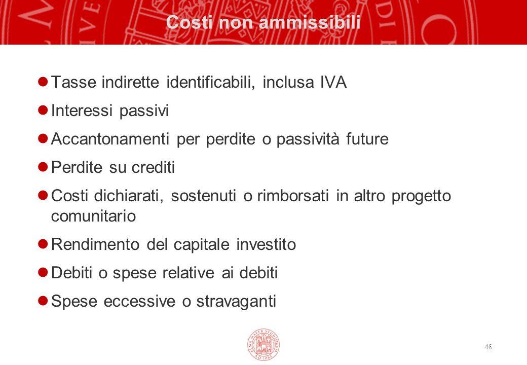 46 Costi non ammissibili Tasse indirette identificabili, inclusa IVA Interessi passivi Accantonamenti per perdite o passività future Perdite su credit