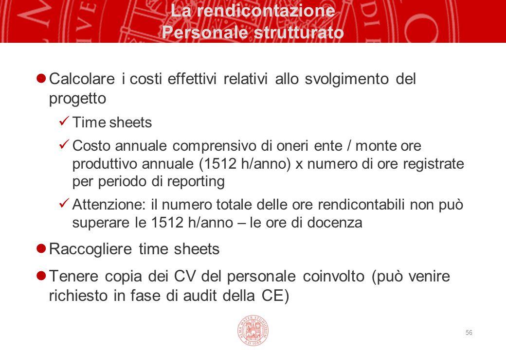 56 La rendicontazione Personale strutturato Calcolare i costi effettivi relativi allo svolgimento del progetto Time sheets Costo annuale comprensivo d