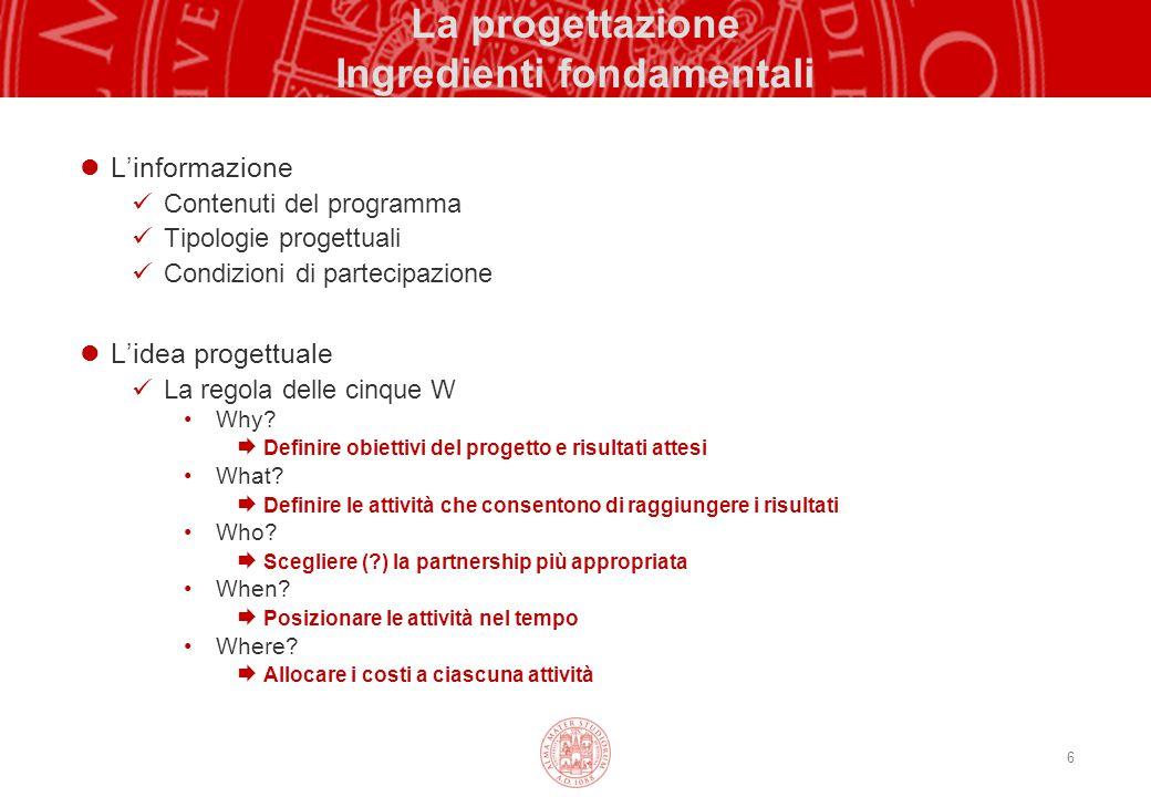 6 La progettazione Ingredienti fondamentali L'informazione Contenuti del programma Tipologie progettuali Condizioni di partecipazione L'idea progettua