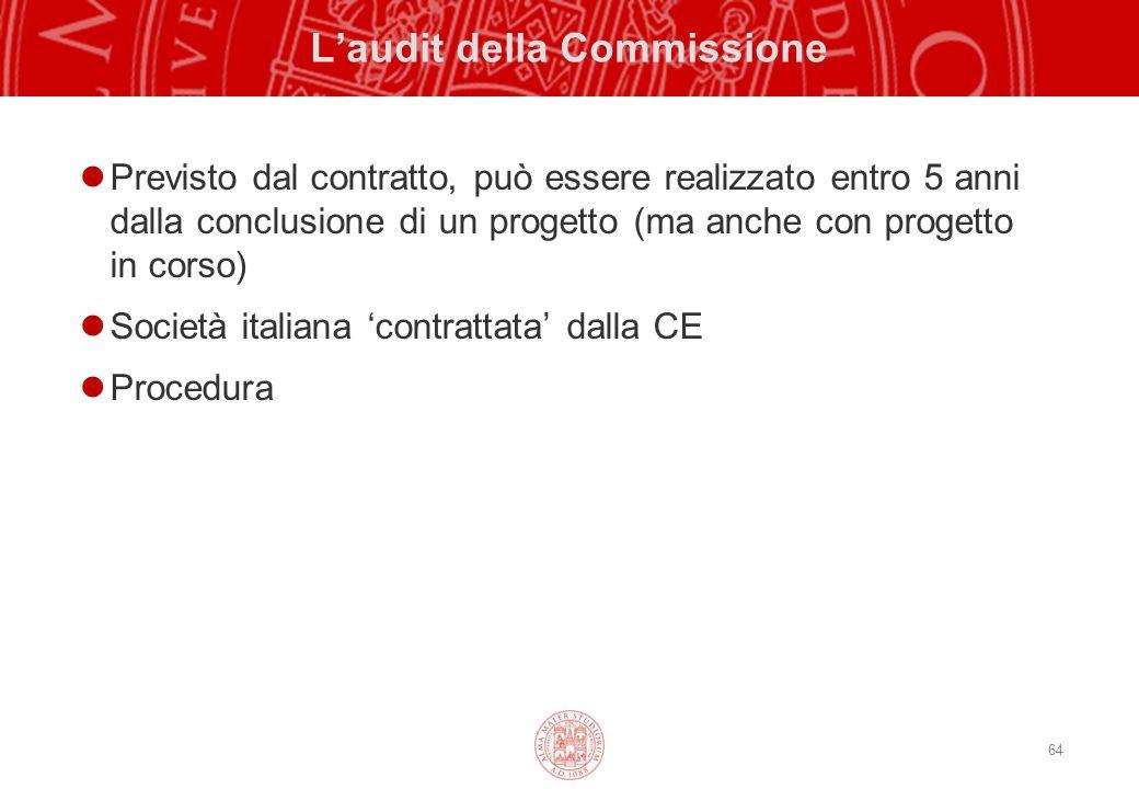 64 L'audit della Commissione Previsto dal contratto, può essere realizzato entro 5 anni dalla conclusione di un progetto (ma anche con progetto in corso) Società italiana 'contrattata' dalla CE Procedura