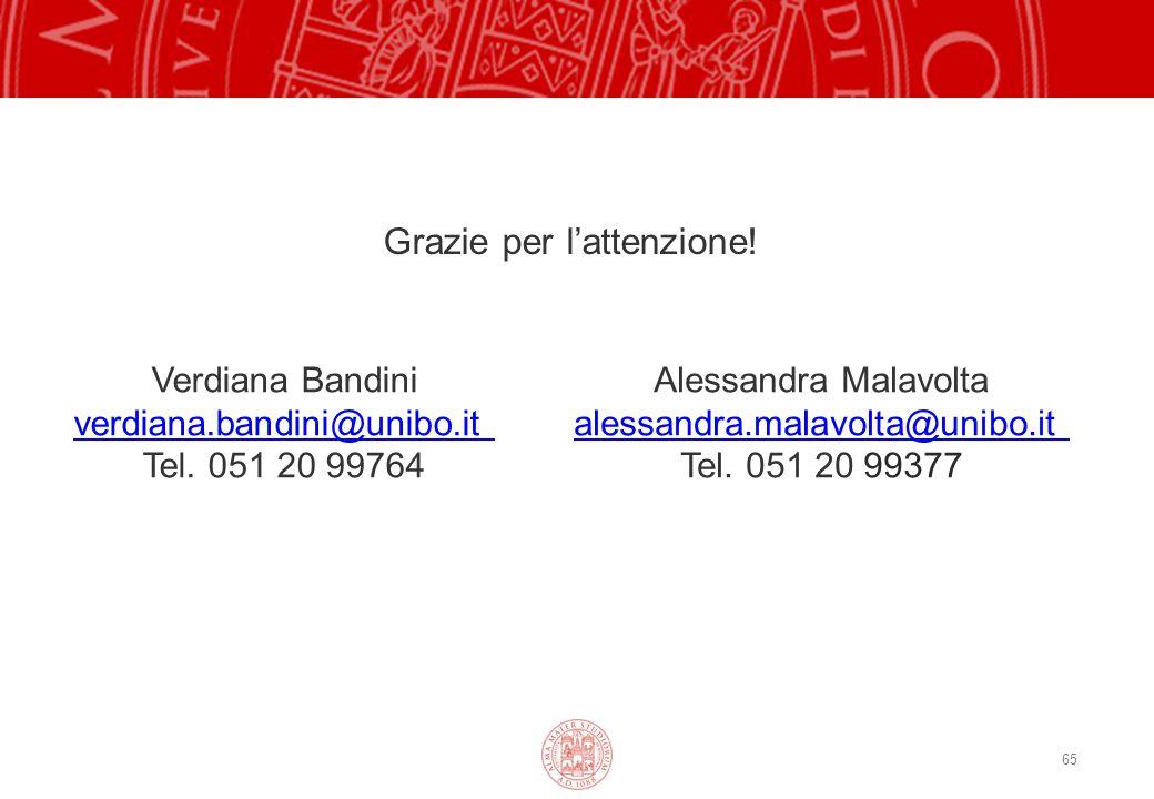 65 Grazie per l'attenzione! Verdiana Bandini verdiana.bandini@unibo.it Tel. 051 20 99764 Alessandra Malavolta alessandra.malavolta@unibo.it Tel. 051 2