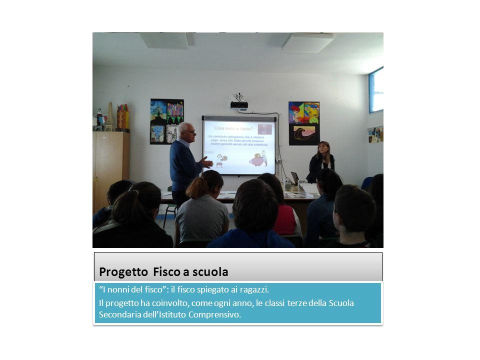 """Progetto Fisco a scuola """"I nonni del fisco"""": il fisco spiegato ai ragazzi. Il progetto ha coinvolto, come ogni anno, le classi terze della Scuola Seco"""