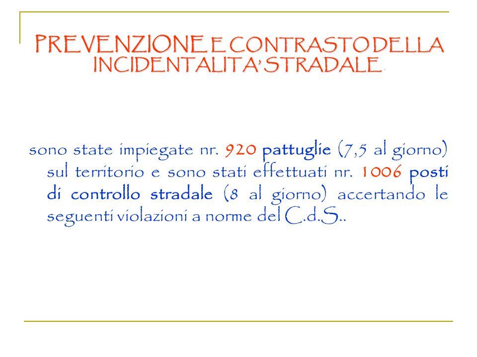 Prevenzione e contrasto della incidentalità stradale Prevenzione e contrasto della guida in stato di ebbrezza Prevenzione e contrasto dell'immigrazione clandestina Campagne informative