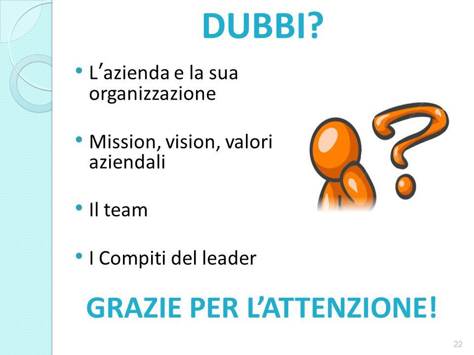 L'azienda e la sua organizzazione Mission, vision, valori aziendali Il team I Compiti del leader 22 DUBBI.