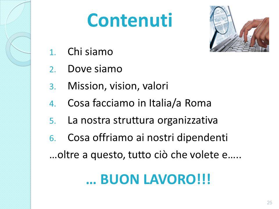 1. Chi siamo 2. Dove siamo 3. Mission, vision, valori 4. Cosa facciamo in Italia/a Roma 5. La nostra struttura organizzativa 6. Cosa offriamo ai nostr