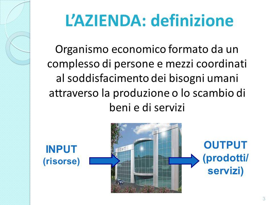 Organismo economico formato da un complesso di persone e mezzi coordinati al soddisfacimento dei bisogni umani attraverso la produzione o lo scambio di beni e di servizi 3 INPUT (risorse) OUTPUT (prodotti/ servizi) L'AZIENDA: definizione