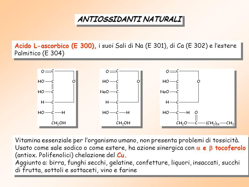 ANTIOSSIDANTI NATURALI Acido L-ascorbico (E 300), Acido L-ascorbico (E 300), i suoi Sali di Na (E 301), di Ca (E 302) e l'estere Palmitico (E 304) Acido L-ascorbico (E 300), Acido L-ascorbico (E 300), i suoi Sali di Na (E 301), di Ca (E 302) e l'estere Palmitico (E 304) Vitamina essenziale per l'organismo umano, non presenta problemi di tossicità.