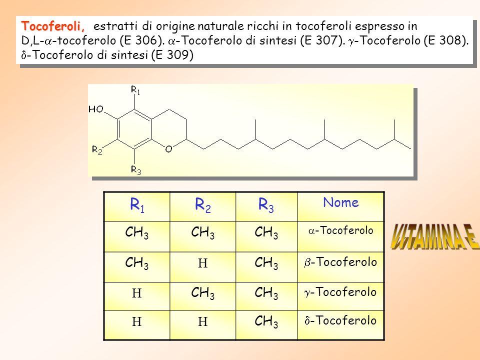 Tocoferoli, Tocoferoli, estratti di origine naturale ricchi in tocoferoli espresso in D,L-  -tocoferolo (E 306).  -Tocoferolo di sintesi (E 307). 