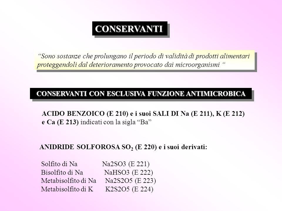 """CONSERVANTICONSERVANTI """"Sono sostanze che prolungano il periodo di validità di prodotti alimentari proteggendoli dal deterioramento provocato dai micr"""
