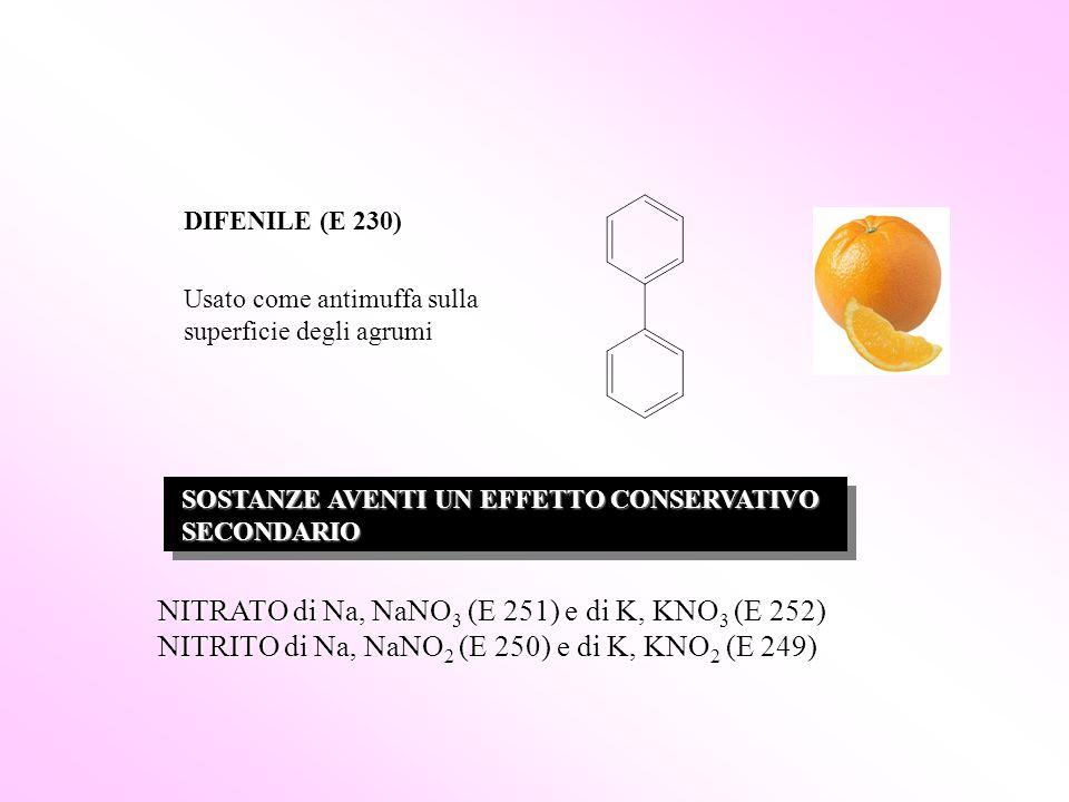 DIFENILE (E 230) Usato come antimuffa sulla superficie degli agrumi SOSTANZE AVENTI UN EFFETTO CONSERVATIVO SOSTANZE AVENTI UN EFFETTO CONSERVATIVO SE