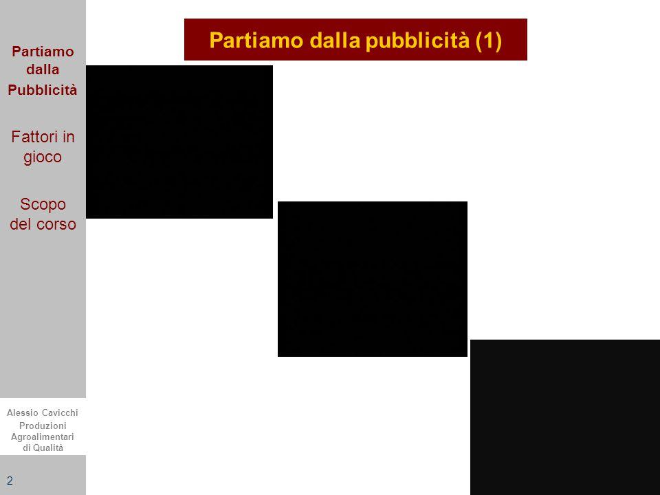 Alessio Cavicchi Produzioni Agroalimentari di Qualità 2 Partiamo dalla pubblicità (1) Partiamo dalla Pubblicità Fattori in gioco Scopo del corso