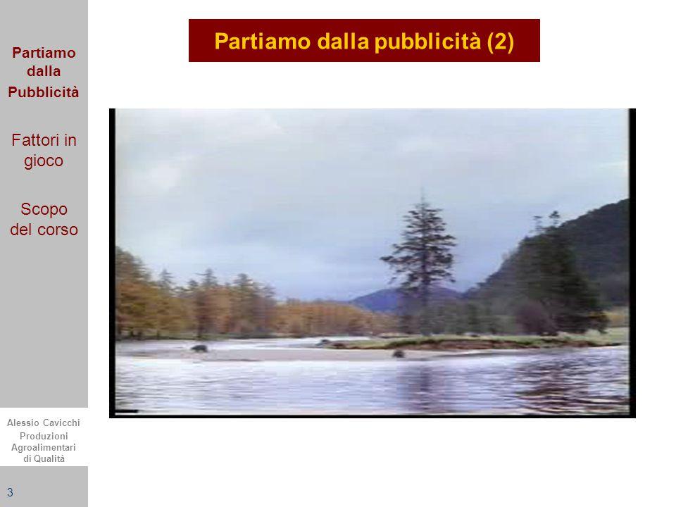 Alessio Cavicchi Produzioni Agroalimentari di Qualità 3 Partiamo dalla pubblicità (2) Partiamo dalla Pubblicità Fattori in gioco Scopo del corso
