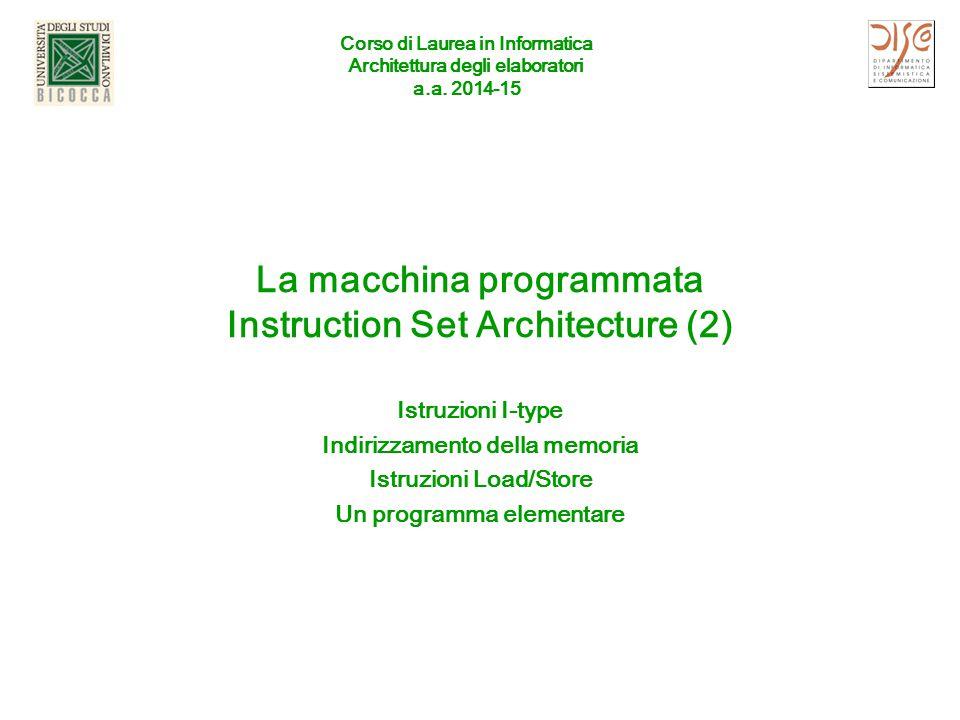 Corso di Laurea in Informatica Architettura degli elaboratori a.a. 2014-15 La macchina programmata Instruction Set Architecture (2) Istruzioni I-type