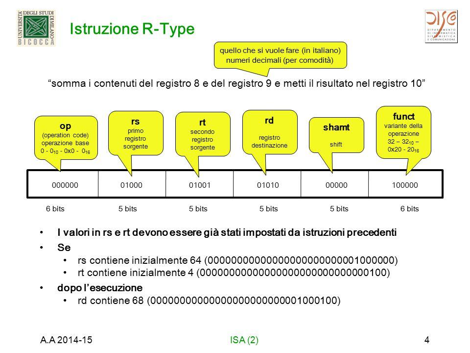Istruzione R-Type I valori in rs e rt devono essere già stati impostati da istruzioni precedenti Se rs contiene inizialmente 64 (00000000000000000000000001000000) rt contiene inizialmente 4 (00000000000000000000000000000100) dopo l'esecuzione rd contiene 68 (00000000000000000000000001000100) A.A 2014-15ISA (2)4 6 bits5 bits 6 bits somma i contenuti del registro 8 e del registro 9 e metti il risultato nel registro 10 quello che si vuole fare (in italiano) numeri decimali (per comodità) 000000 op (operation code) operazione base 0 - 0 10 - 0x0 - 0 16 01000 rs primo registro sorgente 01001 rt secondo registro sorgente 01010 rd registro destinazione 00000 shamt shift 100000 funct variante della operazione 32 – 32 10 – 0x20 - 20 16