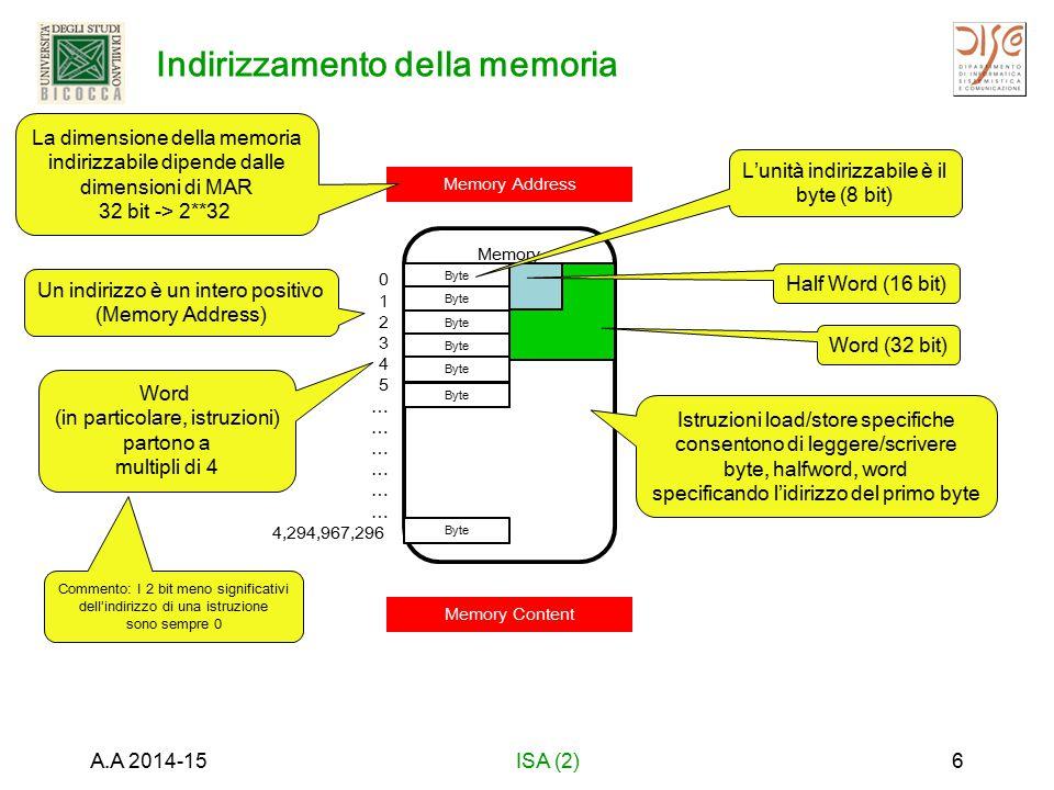 Memory Half Word (16 bit) Word (32 bit) Indirizzamento della memoria A.A 2014-15ISA (2)6 Memory Address Memory Content La dimensione della memoria indirizzabile dipende dalle dimensioni di MAR 32 bit -> 2**32 0 1 2 3 4 5 … 4,294,967,296 Byte L'unità indirizzabile è il byte (8 bit) Istruzioni load/store specifiche consentono di leggere/scrivere byte, halfword, word specificando l'idirizzo del primo byte Commento: I 2 bit meno significativi dell'indirizzo di una istruzione sono sempre 0 Word (in particolare, istruzioni) partono a multipli di 4 Un indirizzo è un intero positivo (Memory Address)